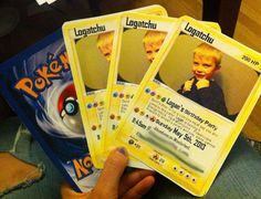 Redditor jerrikag created these Pokemon Card Invitations for her son Logatchu's Logan's birthday party. He's turning six! Man, I remember being six. No, no I don't. I can&#8…