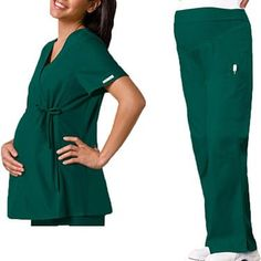 This Cherokee Flexibles maternity scrub set features a scrub top with an adjustable, drawstring, empire waist and soft stretchy knit side panels. Contrast topstitching on the front and back prin...