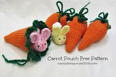 Crochet Amigurumi Rabbit Patterns Carrot Pouch Tutorial ~ Amigurumi To Go Crochet Pouch, Crochet Amigurumi, Crochet Food, Crochet Bunny, Crochet Gifts, Cute Crochet, Amigurumi Patterns, Crochet Animals, Crochet Dolls