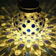Sogrand Blue Decorative Solar Powered Hanging Glass Jar Patio Pathway Light Lamp #Sogrand