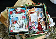 Altered Tins, Altered Books, Cute Crafts, Crafts To Make, Alice In Wonderland Crafts, Scrapbook Albums, Scrapbooking, Assemblage Art, How To Make Ornaments