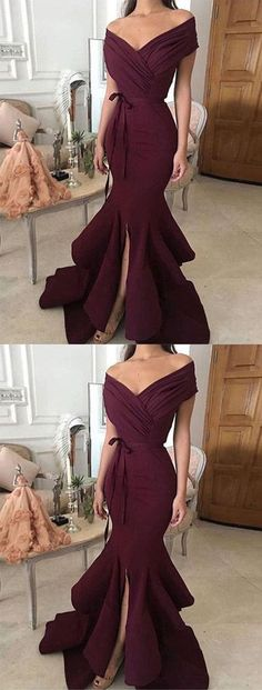 Simple Mermaid Off-Shoulder Burgundy Long Prom/Evening Dress B0653