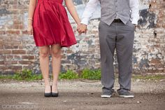 Engagement photo idea! Urban industrial meets classy retro fashion. Tammy and Christopher's vintage-vibed engagement photos by Composure Studios