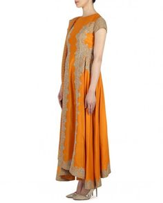 Saffron Suit with Embroidered Side Panel