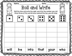 ROLL AND WRITE {KINDERGARTEN JOURNEYS SIGHT WORD EDITION} - TeachersPayTeachers.com