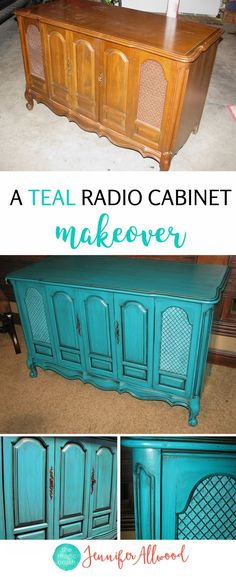 What a fun color! A Repurposed Radio Cabinet by Jennifer Allwood of theMagicBrushinc.com | Teal Radio Cabinet | Painted Furniture Ideas