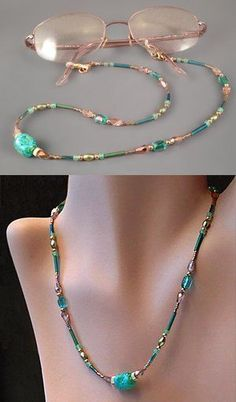Learn how to make a beautiful beaded eyeglass leash that also can be worn as a necklace. This jewelry tutorial has detailed step-by-step instructions with close-up photos to ensure successful results. Beaded Jewelry Designs, Seed Bead Jewelry, Jewelry Ideas, Diy Necklace, Glass Necklace, Eyeglass Holder, Handmade Necklaces, Beaded Bracelets, Photos