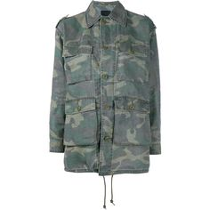 SAINT LAURENT Camouflage Hunter Jacket (€990) ❤ liked on Polyvore featuring outerwear, jackets, green jacket, military jacket, military style jacket, green camo jacket and green leather jacket