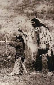 Kicking Bear Sioux Indian Teaches Son Bow & Arrow, Native American --- Postcard | eBay