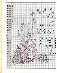 0 point de croix femme méditant - cross stitch girl count my blessing i count you twice 2