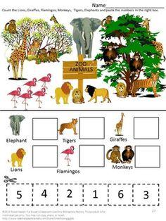 zoo animals counting practice for preschool kindergarten zoo theme activities for. Black Bedroom Furniture Sets. Home Design Ideas