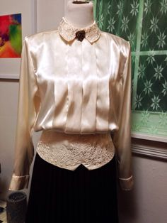 A personal favorite from my Etsy shop https://www.etsy.com/listing/219759314/creamy-satin-blouse-with-detailed