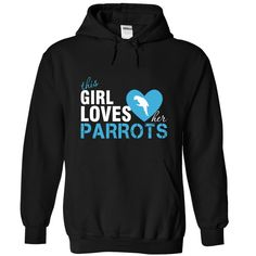 This girl loves her parrots