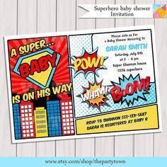 Superhero Baby Shower Invitation Printable  Invite by ThePartyTown, $8.99