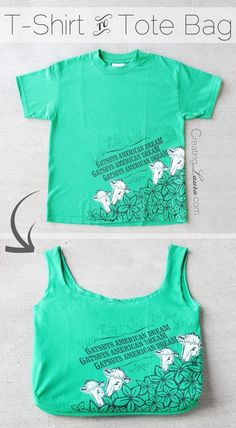 Sewing a shopping bag from a T-shirt (Creating Laura) DIY B . - Sewing a Shopping Bag from a T-Shirt (Creating Laura) DIY Bag and Pur # kitchengarden - Recycled T Shirts, Old T Shirts, Tee Shirts, T Shirt Recycle, T Shirt Diy, Sewing Clothes, Diy Clothes, Clothes Refashion, Old Shirts