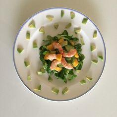 Recette Healthy !!!!!  Salade Avocat Mangue Crevettes