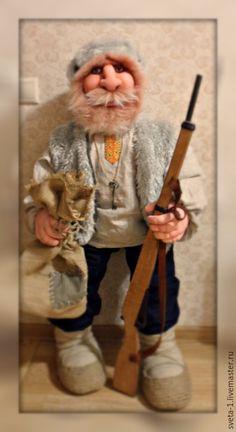 Купить охотник - интерьерная кукла, охотник, подарок на любой случай, ростовая кукла, бежевый, капрон