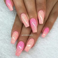 Hair Color Pink Ombre Nail Art Designs 58 New Ideas Glam Nails, Fancy Nails, Cute Nails, Pretty Nails, My Nails, Beauty Nails, Colorful Nail Designs, Acrylic Nail Designs, Nail Art Designs
