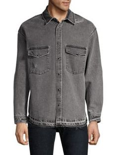 The Kooples Washed Denim Button-down Shirt In Black Denim Button Down, Button Downs, Button Up Shirts, Distressed Denim, Washed Denim, The Kooples, Shirt Dress, Mens Fashion, Mens Tops