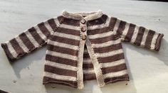 Cotton Knit Baby Sweater Jacket, Gender Neutral Brown and Cream Striped with Brown and Cream buttons, Size 6-9 months by BabyBoies