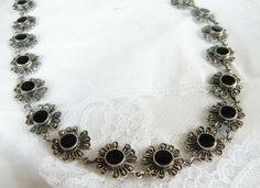 "Vintage Chunky Sterling Silver Black Onyx Marcasite HEAVY Necklace 17.5"" #Handmade"