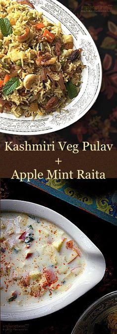 Apple Mint Raita for Kashmiri Mixed Vegetable Pulao.