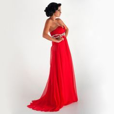 Red Long Beading Prom Dresses