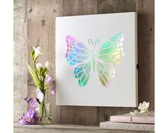 Light Up Butterfly Picture, wall art illuminates battery operated #Klife