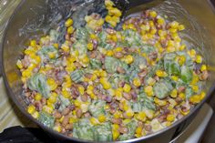 Okra, Corn And Black Eyed Pea Salad:  A Southern salad with okra, corn, black eyed peas and a creamy dressing!