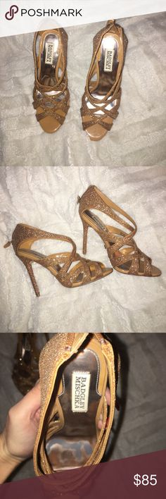 Badgley Mischka gold sparkly heels Beautiful gold sparkly heels worn once to a wedding which show light wear on the inside and outside. Size 7.5 Badgley Mischka Shoes Heels