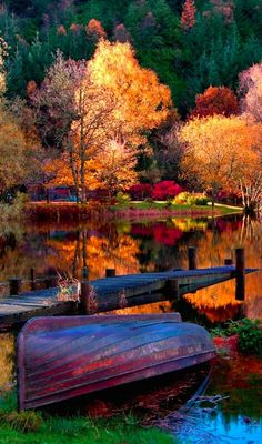 Vibrant autumn lake with dock and boat