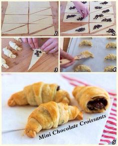 Croissant rolls with chocolate chips or Nutella. Just Desserts, Delicious Desserts, Dessert Recipes, Yummy Food, Pepperidge Farm Puff Pastry, Mini Croissants, Dessert Original, Chocolate Filling, Desert Recipes