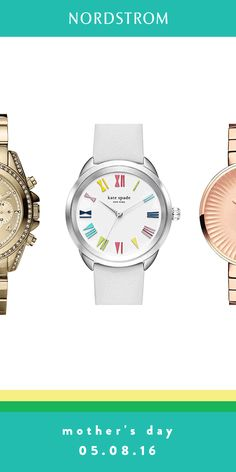 Mother's Day gifts that are so cute it's hard to pick just one! Mom will love these watches from Kate Spade, Michael Kors and Tory Burch. Classic styles in gold and more whimsical ones with colored faces.