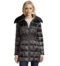 Laundry Shelli Segal Down Jacket Women's Box Quilted Faux Fur Collar Coat XS-S-M…