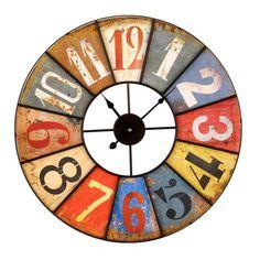 Horloge murale en m�tal multicolore viellie D.58cm ANTIK