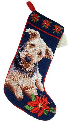 Airedale Terrier Dog Needlepoint Christmas Stocking – For the Love Of Dogs - Shopping for a Cause