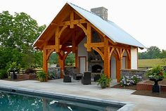 Outdoor Living - Timber Frame Pavilion - Timber Frame Pool House - Timber Frame Outdoor Living - Homestead Timber Frames - Crossville Tennessee