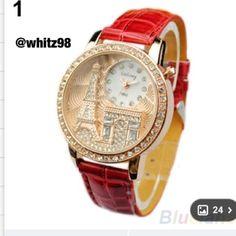 Fashion watch Red Paris themed wristwatch Accessories Watches