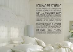 Romantic movie quotes wall decal