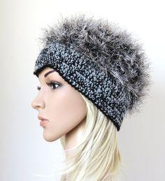 Crochet Beanie, Women's Faux Fur Hat, Gray Black Fake Fur Hat, Fuzzy Cap, Unique Handmade Women's Accessory