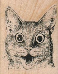 New to pinkflamingo61 on Etsy: Cat  rubber stamp wood mounted art and craft supplies   number645 (5.70 USD)