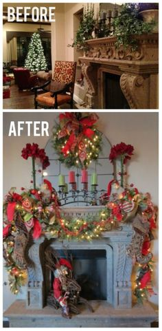 Christmas Mantle Before Show Me Decorating and After! WOW! A Very Mantle!
