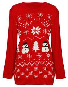 Snowman and Fairisle Print Christmas Jumper in Red £ 14.95 #chiarafashion