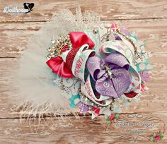 """Always Wear Your Invisible Crown 5"""" OTT Stacked Bow (One of a Kind) Just Sayin' An Auction Style Event Opens 3/3/15 at 5 PM CST Closes at 3/5/15 at 9 PM CST Purchase Here: www.facebook.com/dollhousedesigngroup"""