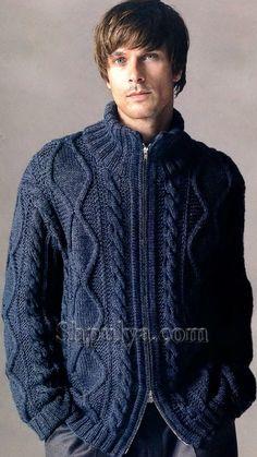 Синий мужской жакет на молнии, вязаный спицами  с описанием и схемами Outfits Casual, Mode Outfits, Mens Cable Knit Sweater, Men Sweater, Cable Knitting Patterns, Knitted Poncho, Knit Fashion, Knit Jacket, Crochet
