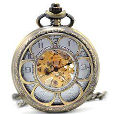 Antique Brass Mechanical Pocket Watch Mechanical Skeleton Pocket Watch Pendant Sunflower