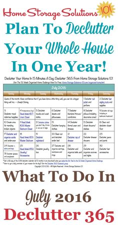 July 2016 Declutter Calendar