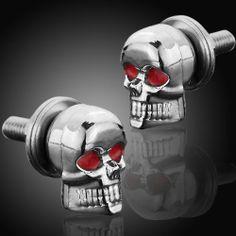 diy design decoration chrome skull red gem eye license plate lic tag frame bolts set universal fit car light truck astra depot