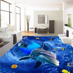 Free Shipping Custom 3D HD marine world dolphin floor painting paste office studio lobby self-adhesive floor wallpaper mural