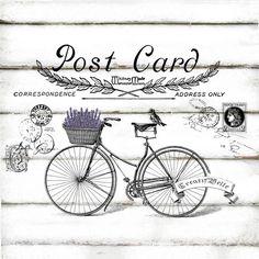 Vintage Bicycle Post Card Large A4 Instant Digital by CreatifBelle